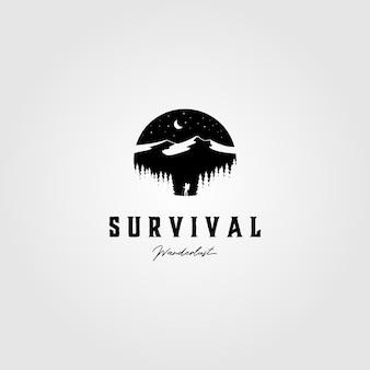 Diseño de ilustración al aire libre de supervivencia vintage logo de aventura