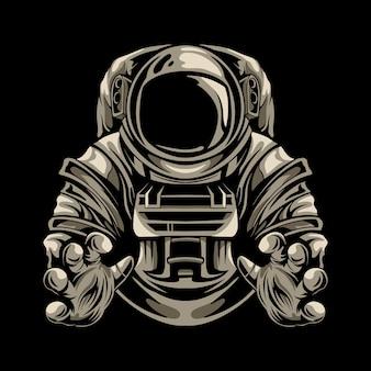 Diseño de ilustración de astronauta aislado
