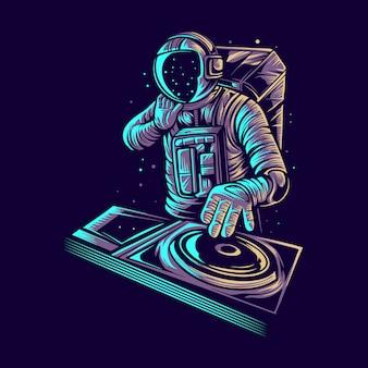 Diseño de ilustración de astronauta disc jockey