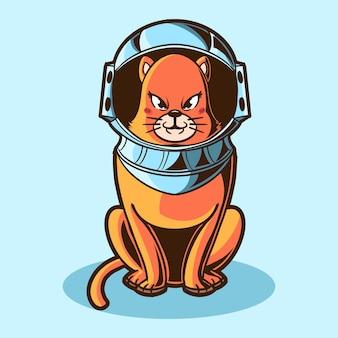 Diseño de ilustración de astronauta de gato