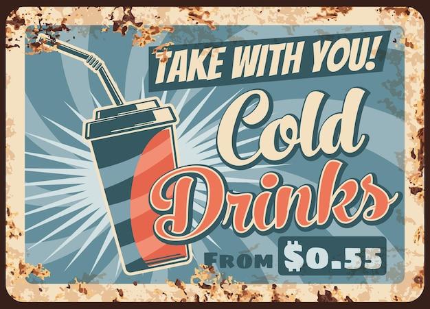 Diseño de ilustración de bebida de verano de placa de metal oxidado de bebidas frías