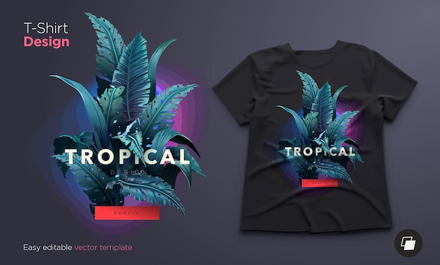 Diseño de ilustración y camiseta tropical brillante