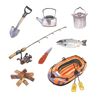 Diseño de ilustración de camping con acuarela