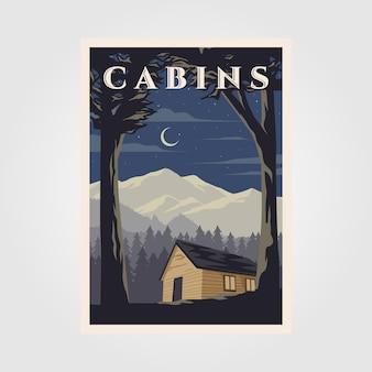 Diseño de ilustración de cartel de cabañas vintage