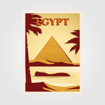 Diseño de ilustración de cartel vintage de egipto con diseño de pirámide y río nilo