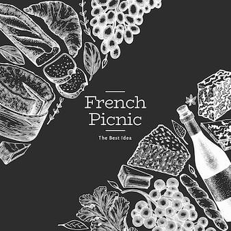 Diseño de ilustración de comida francesa