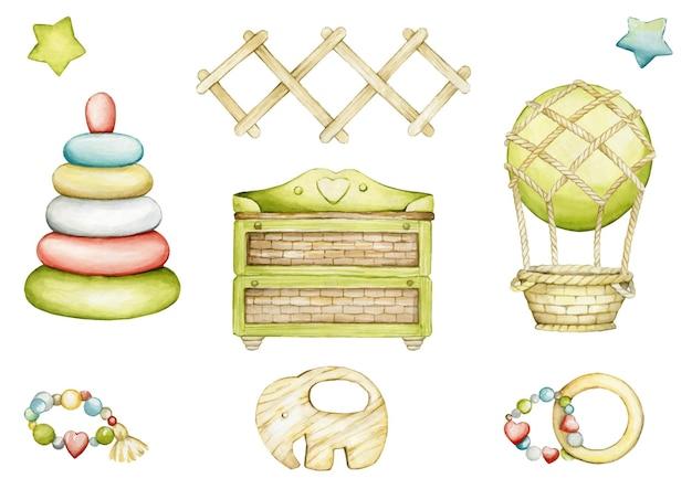 Diseño de ilustración de conjunto de acuarela