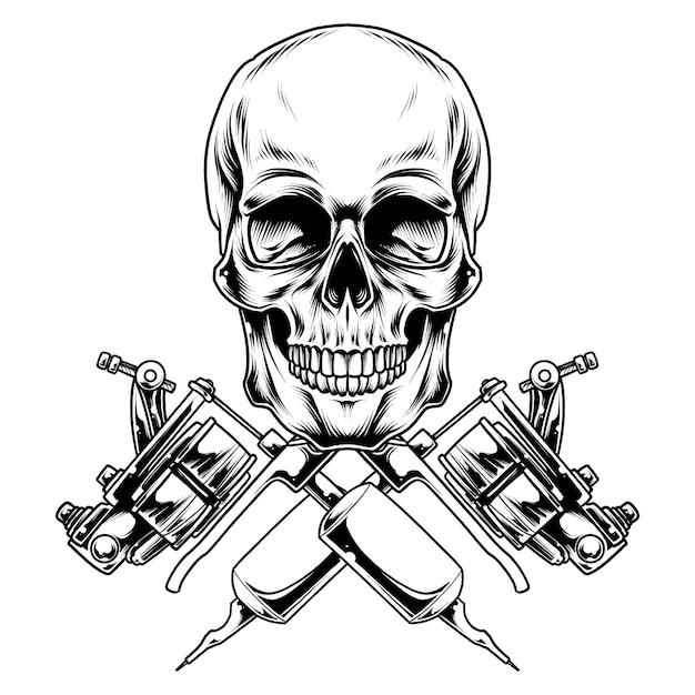 Diseño de ilustración de cráneo de tatuaje