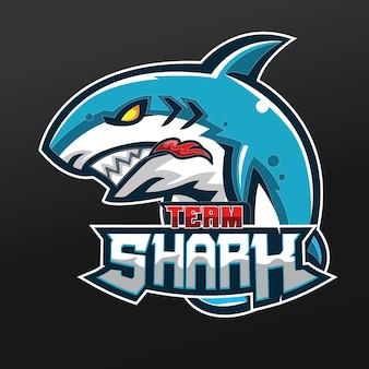 Diseño de ilustración de deporte de mascota de tiburón de equipo