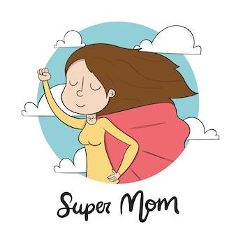 Diseño de ilustración del día de la madre dibujado a mano