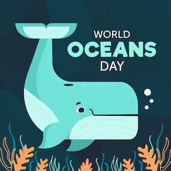 Diseño de ilustración del día mundial de los océanos