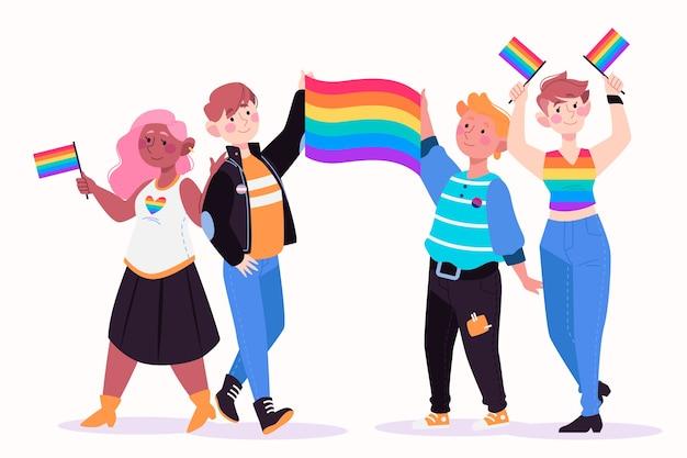 Diseño de ilustración día orgullo personas