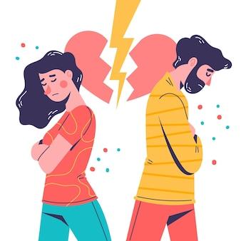 Diseño de ilustración de divorcio