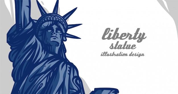 Diseño de ilustración de la estatua de la libertad