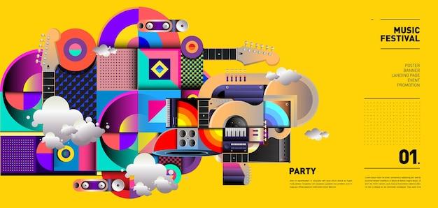 Diseño de ilustración de festival de música para fiesta y evento