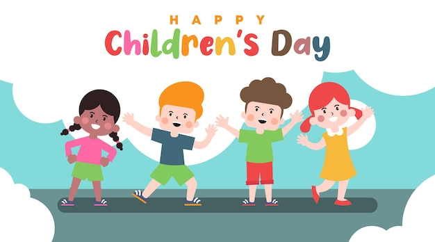 Diseño de ilustración de fondo del día de los niños felices