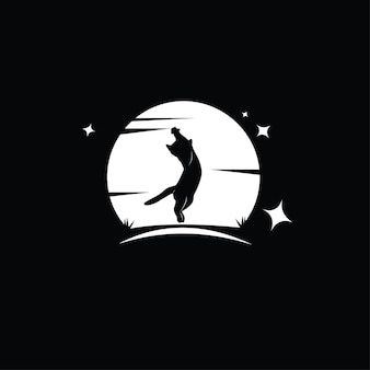 Diseño de ilustración de gato silueta