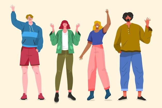 Diseño de ilustración con gente agitando la mano