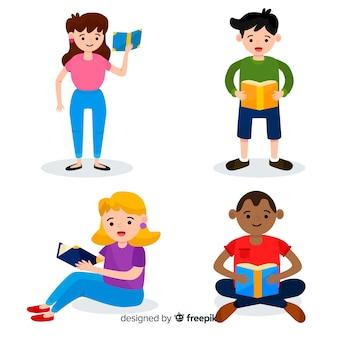 Diseño de ilustración con gente joven leyendo