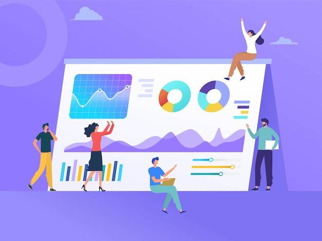 Diseño de ilustración de gráfico de negocio de analíticas de personas, crecimiento de la empresa, presentación de espectáculo de personaje plano