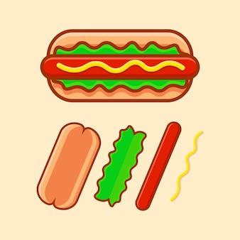 Diseño de ilustración de icono de dibujos animados de hot dog