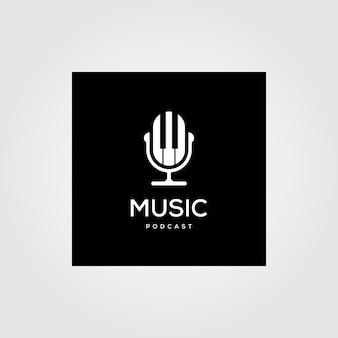 Diseño de ilustración de icono de logotipo de radio de podcast de música