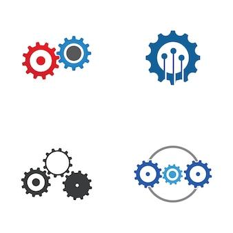 Diseño de ilustración de icono de vector de plantilla de logotipo de engranaje