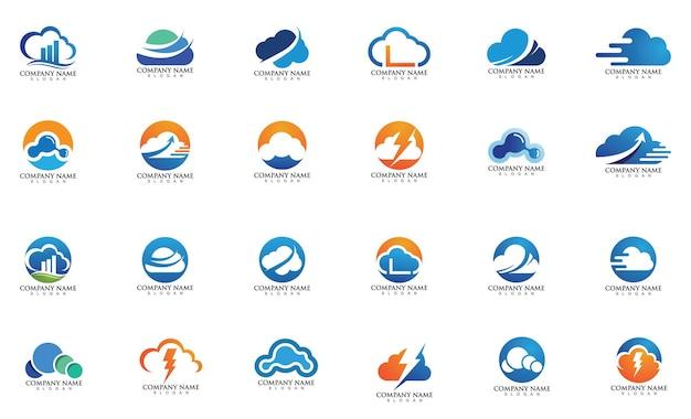 Diseño de ilustración de icono de vector de plantilla de nube