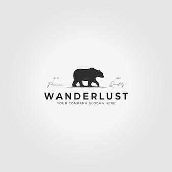 Diseño de ilustración de icono de vector vintage de logotipo de oso pardo