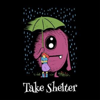 Diseño de ilustración de ilustraciones de linda chica con monstruo doodle bajo la lluvia