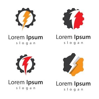 Diseño de ilustración de imágenes de logotipo de potencia de engranaje