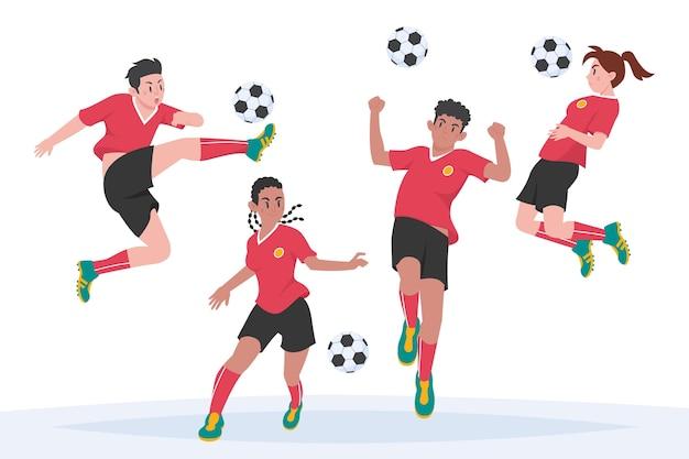 Diseño de ilustración de jugadores de fútbol plano