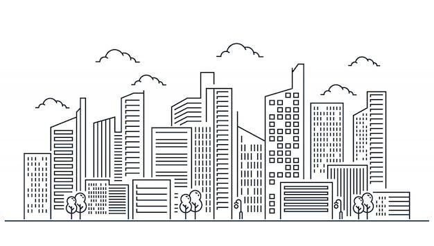 Diseño de ilustración de línea de ciudad