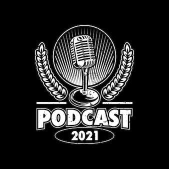 Diseño de ilustración del logo de podcast