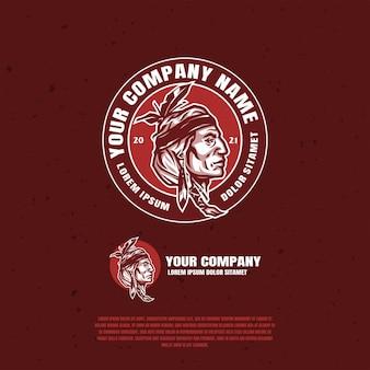 Diseño de ilustración del logotipo de apache indio