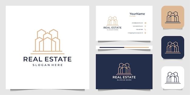 Diseño de ilustración de logotipo de bienes raíces en estilo de arte de línea. logo y tarjeta de visita