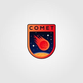 Diseño de ilustración del logotipo de meteorito cometa