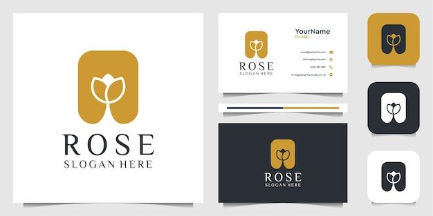 Diseño de ilustración de logotipo rosa. logo y tarjeta de visita