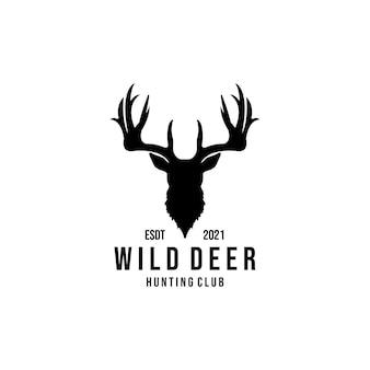 Diseño de ilustración de logotipo de vector de ciervo salvaje