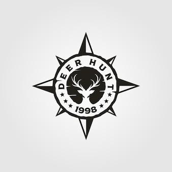 Diseño de ilustración de logotipo vintage de brújula de caza de ciervos