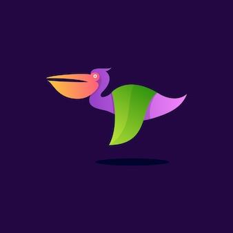 Diseño de ilustración moderno colorido pelícano