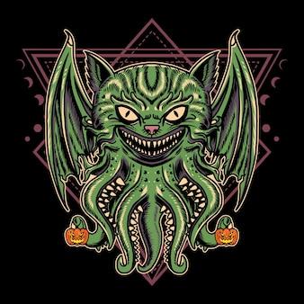 Diseño de ilustración monstruo de gato de halloween con estilo de dibujos animados retro vintage en fondo negro