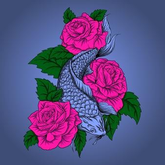 Diseño de ilustración de obra de arte pez koi con rosa