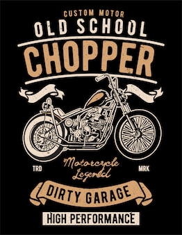 Diseño de ilustración de old school chopper