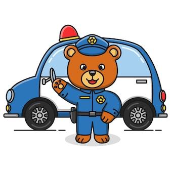 Diseño de ilustración de oso de policía de dibujos animados
