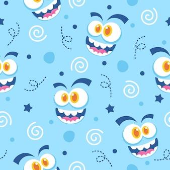 Diseño de ilustración de patrón de cara de monstruos