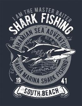 Diseño de ilustración de pesca de tiburones