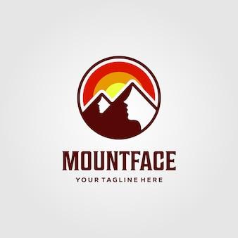 Diseño de ilustración de puesta de sol de logotipo inteligente de cara de montaña