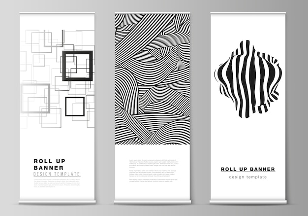 El diseño de la ilustración de roll up banner stands, volantes verticales, banderas diseñan plantillas de negocios. fondo abstracto geométrico de moda en estilo plano minimalista con composición dinámica.