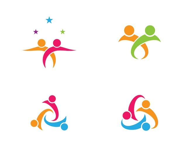 Diseño de ilustración de símbolo de cuidado de comunidad